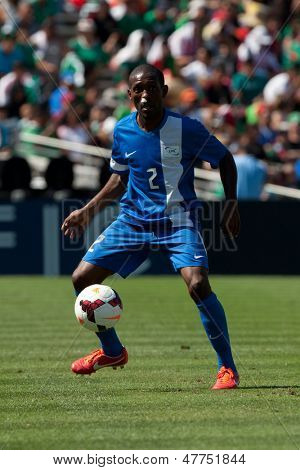 PASADENA, CA - JULY 7: Nicolas Zaire #2 of Martinique during the 2013 CONCACAF Gold Cup game between Canada and Martinique on July 7, 2013 at the Rose Bowl in Pasadena, Ca.