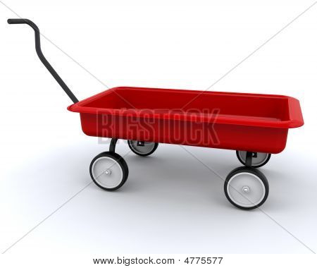 3D Red Wagon