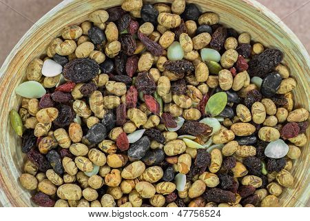 background of dried cereal seeds and fruits poster