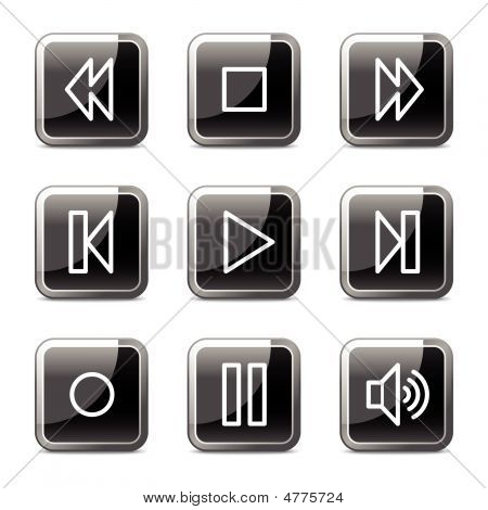 Walkman Web Icons, Black Square Glossy Buttons Series