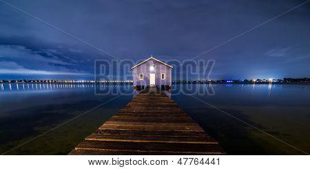 Boatshed Perth in blue night sky