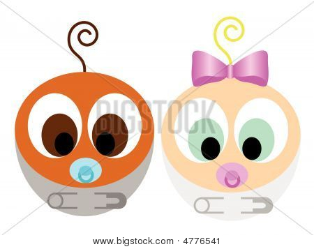 Cute Interracial Bebies Vector