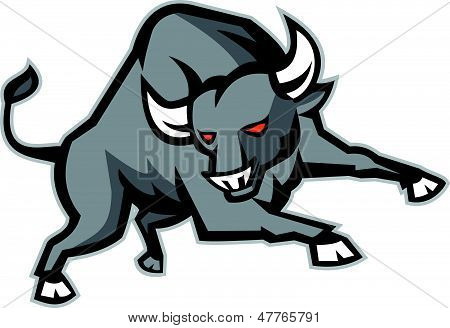 Illustration of an angry raging bull facing front snorting done in retro style. poster