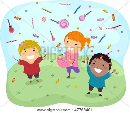 Illustration of Stickman Kids Catching Sweet Candies and Lollipops