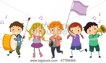 Illustration of Stickman Kids Marching Band poster