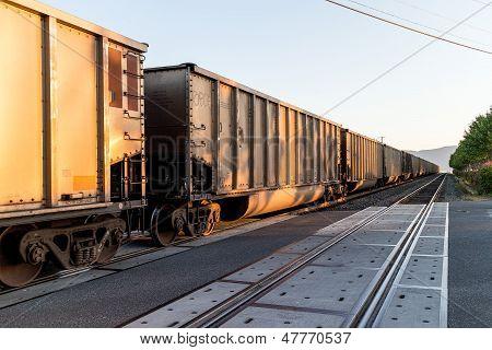 Train Pulling In On Bellingham Coast