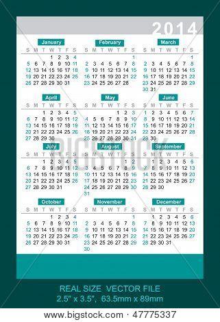 Vector Pocket Calendar 2014 Real Size: 2.5
