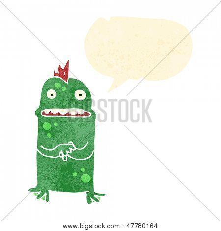 retro cartoon nervous swamp monster
