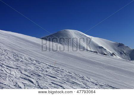 Ski Slope And Blue Sky