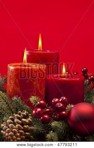 Red Advent Wreath With Candles