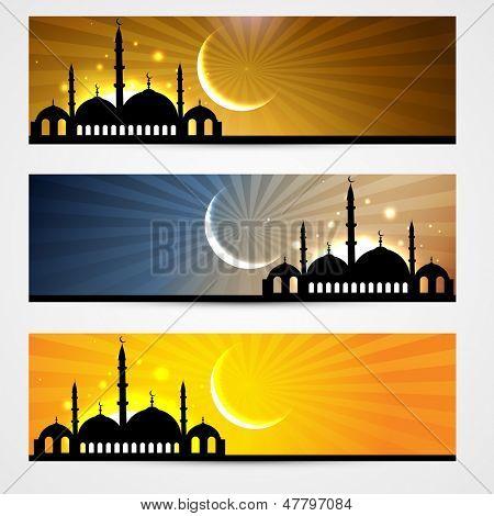 stylish set of ramadan and eid headers poster