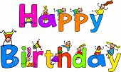 Happy Birthday text message with little kids climbing over the letters. poster