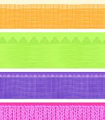 Vector Set of four horizontal textile fabric textures seamless patterns borders with hand drawn elements poster