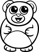 Black and White Cartoon Illustration of Kawaii Style Cute Teddy Bear to Coloring Book poster