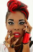 Beautiful Sexy Colorful Black Woman Face, Manicure, Designer Nails poster