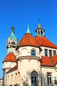 Fragment of historic Balneology Building and old Lighthouse in Sopot, Poland poster