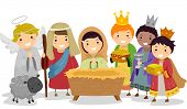 Illustration of Stickman Kids Playing Nativity Scene in School Play poster
