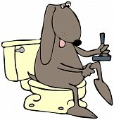 This illustration depicts a dog sitting on a toilet and shaving its leg with a razor. poster