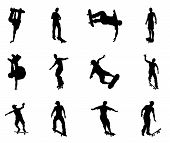Skateboarders performing lots of tricks on their boards. Very high quality detailed skating skateboarder silhouette outlines. poster