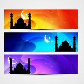 beautiful colorful set of ramadan kareem and eid headers poster