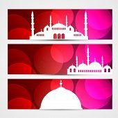 set of ramadan and eid headers with mosque poster