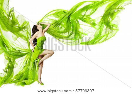 Woman Dancing In Green Dress, Fluttering Waving Fabric, White Background