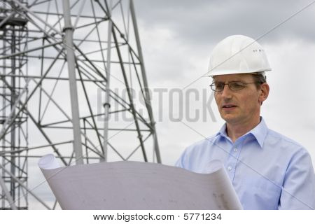 Engineer Reading A Plan