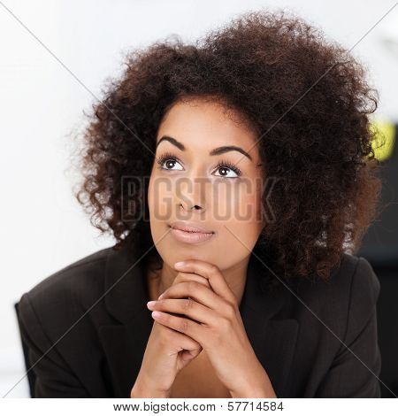 Young African American Woman Daydreaming