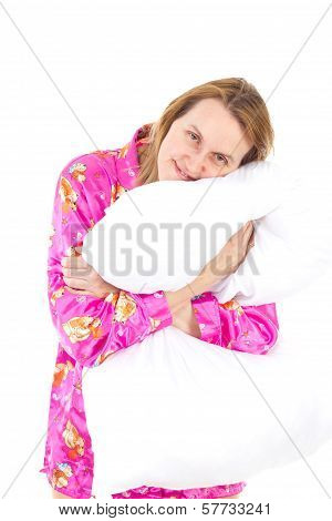 Woman In Pink Pajamas Wants To Sleep