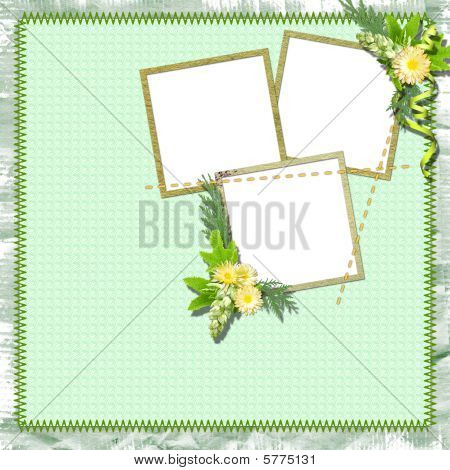 Vintage Summer Framework For Photo On The Textile  Background.