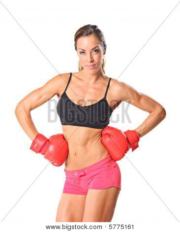 Young athlete woman ready to fight