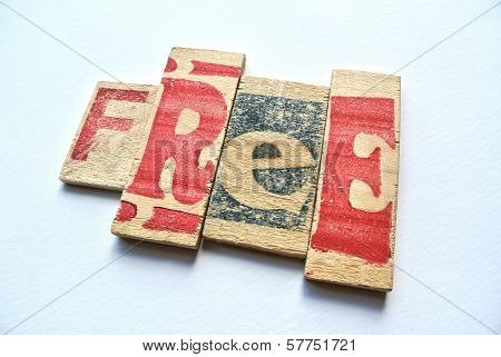 Free Word Set In Stamp Letters Printed Over Wood