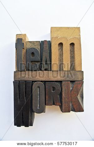 Woodtype Letters Showing Teamwork