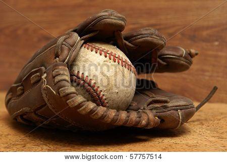 Vintage Glove And Baseball
