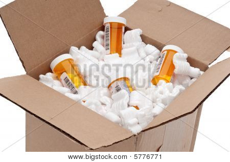 Shipping box of imported prescription medication