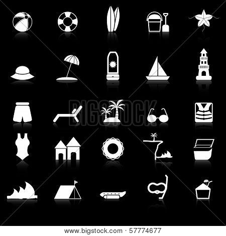 Beach Icons With Reflect On Black Background
