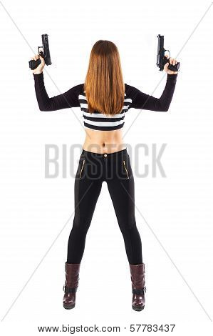 Sexy Unknown Woman With Guns Pointed Upwards