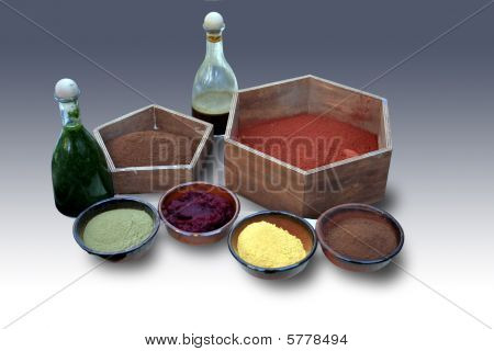 Natural colorants bowls and flasks for textiles poster
