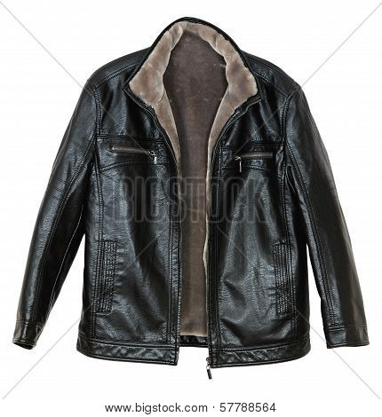 Men's leather jacket with fur sheepskin on white background poster