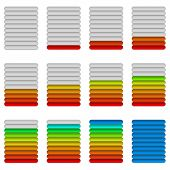 Set of glass colorful loading progress bars at different stages poster