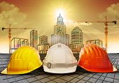 safety helmet and building  construction sketching on paper work use for construction industry business and architecture engineering topic poster