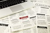 newspaper with advertisements and classifieds ads for vacancy job search and apply now poster