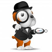 Illustration, english bulldog holds magnifying glass and compass, format EPS 10 poster