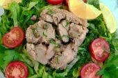 salad with tuna greens tomatoes and lemon poster