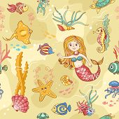 Yellow seamless pattern with mermaid. Cartoon vector background. poster