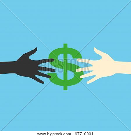 Flat icon hands and money, vector print eps
