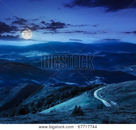 Mountain Slope With Forest In Summer At Night