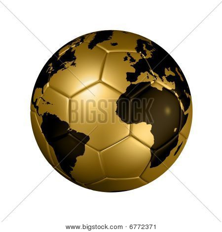 Gold Soccer Football Ball Globe