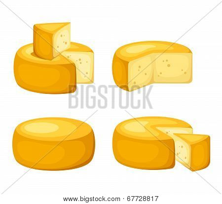 Set of cheeses. Vector illustration.
