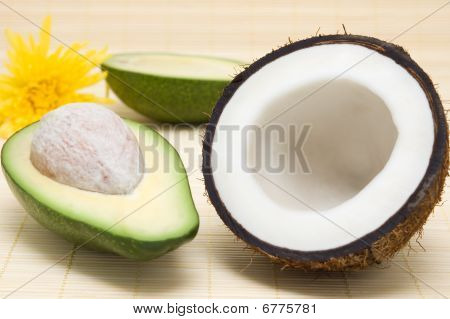 Coconut, Avocado, On A Rug.
